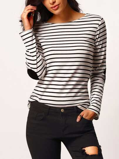 Elbow Patch Boat Neckline Striped Tee