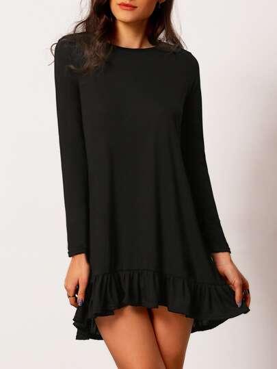 Black Ruffle Hem Tshirt Trapeze Dress