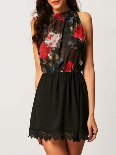 Black Mock Neck Florals Crochet Chiffon Dress