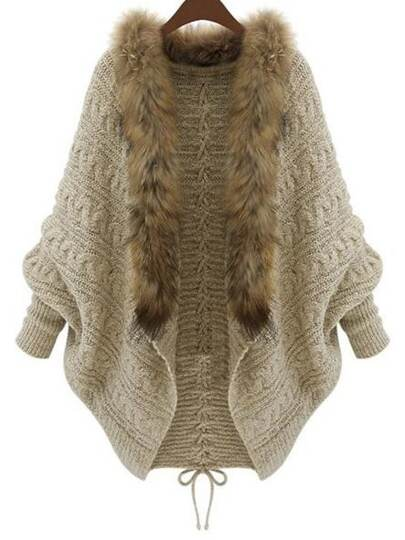Apricot Faux Fur Collar Lace Up Coat Sweater