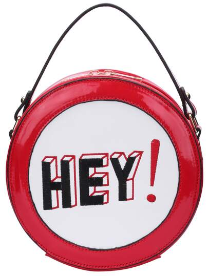Red Letter Embroidered Round Shape Cross Body bag