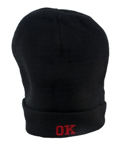 Bonnet en laine imprimé OK -noir