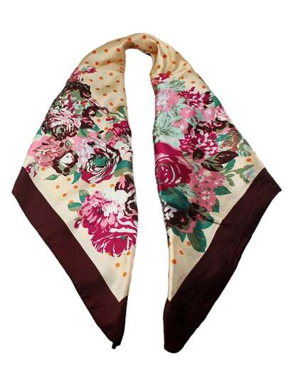 Fashion Coffee Flower Print Chiffon Scarves For Women Apparel Accessories