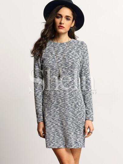 Grey Crew Neck Side Slit Dress