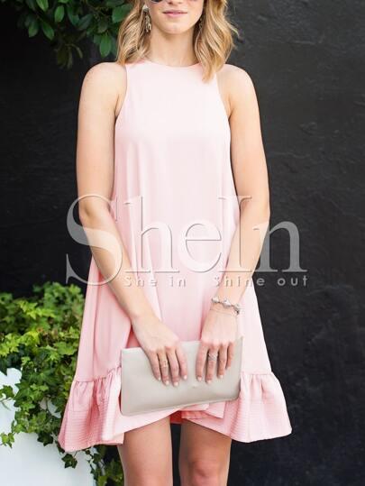 Pink Crew Neck Sleeveless Flounce Dress