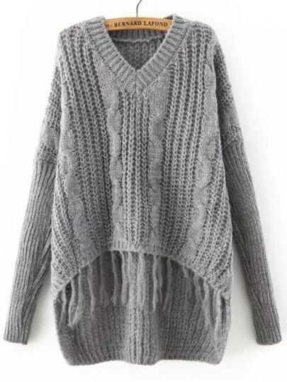 Grey V Neck Tassel Dip Hem Sweater