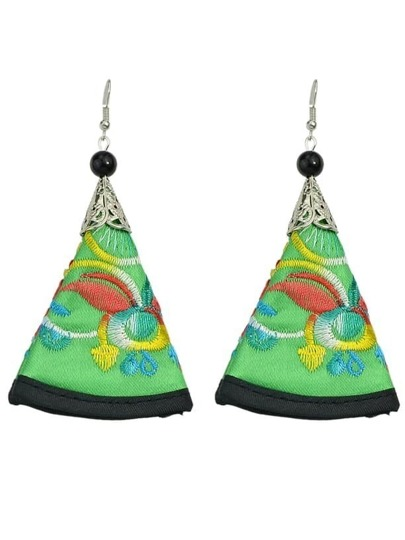 Green Artificial Triangle Pendant Earrings