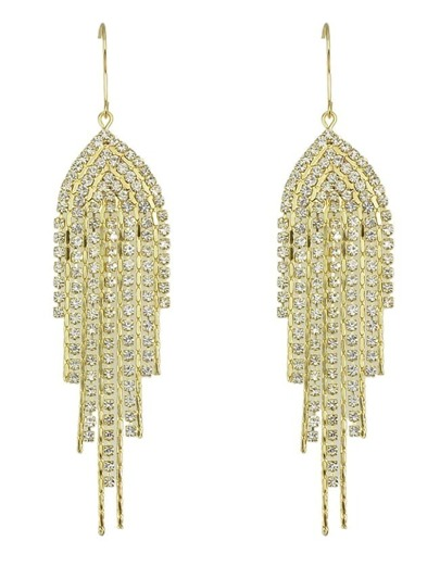 Gold Plated Rhinestone Long Earrings
