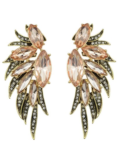 Multicolors Rhinestone Wing Earrings