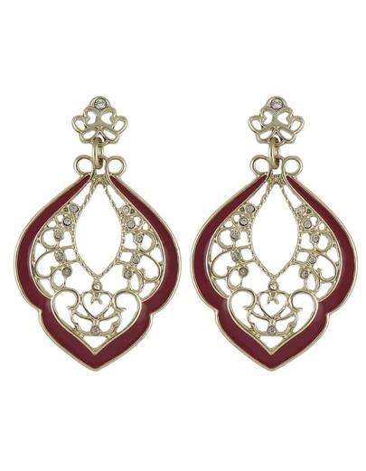 Enamel Rhinestone Hanging Stud Earrings