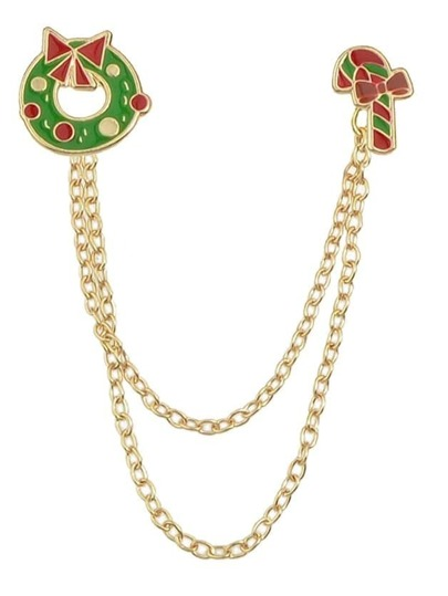 Gold Plated Chain Christmas Brooch