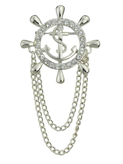 Silver Plated Long Chain Brooch