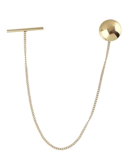 Gold Plated Long Brooch with Chain