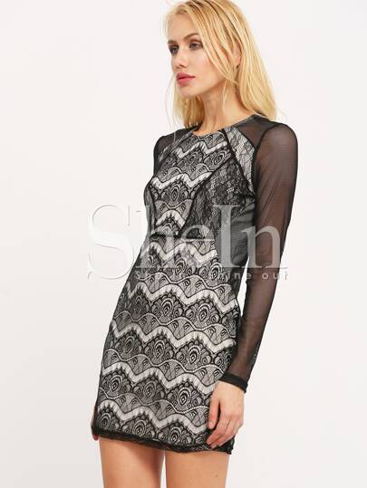 Black Eyelash Lace Bodycon Dress