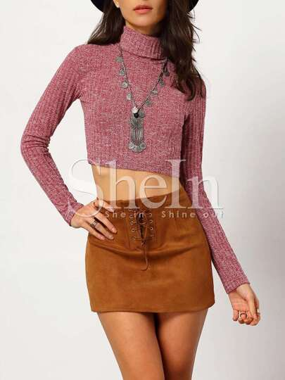 Red High Neck Ribbed Crop Sweater