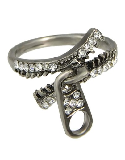 Rhinestone Zipper Shape Unique Ring Jewelry