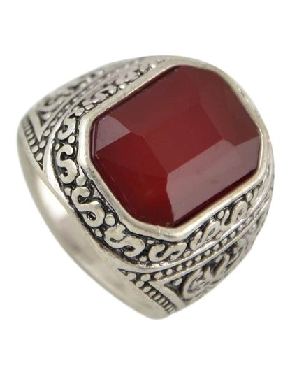 Red Square Shape Big Stone Ring Designs