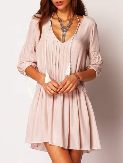 Apricot V Neck Half Sleeve Loose Dress