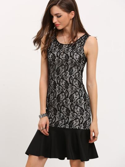 Black Sleeveless Lace Fishtail Dress