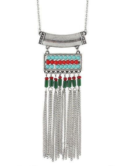 Ethnic Design Antique Silver Plated Long Tassel Beads Infinity Necklace