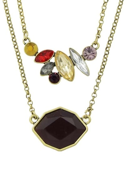 Colored Rhinestone Pendant Women Necklace