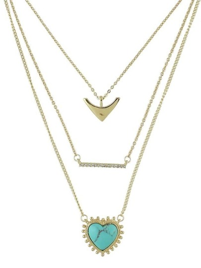 Blue Alloy Chain Necklace for Women