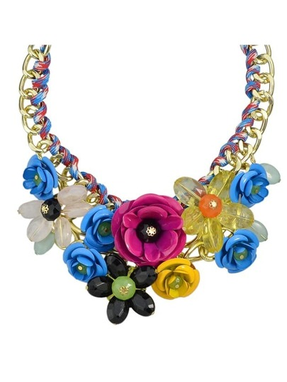 Blue Resin Rhinestone Statement Flower Necklace