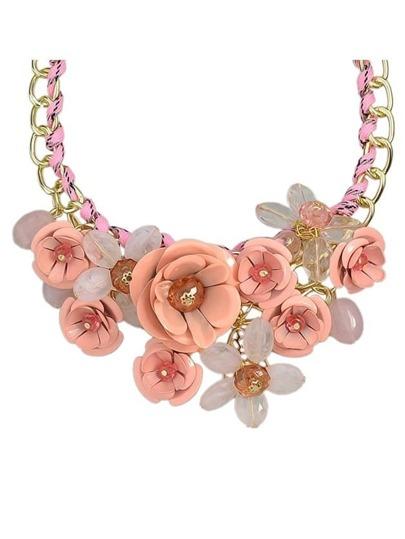 Pink Rhinestone Flower Necklace