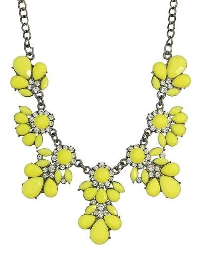 Yellow Gemstone Statement Flower Necklace