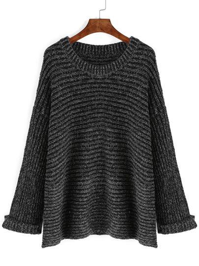 Black Round Neck Rib Loose Sweater