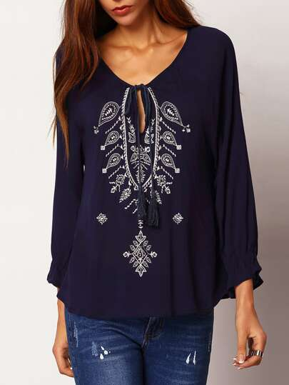 Tie-neck Embroidered Loose Blouse