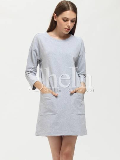 Grey Crew Neck Pockets Dress