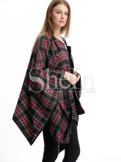 Black Plaid Collarless Asymmetric Coat