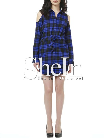 Blue Plaid Drawstring Waist Cold Shoulder Shirt Dress