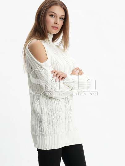 White High Neck Cold Shoulder Sweater