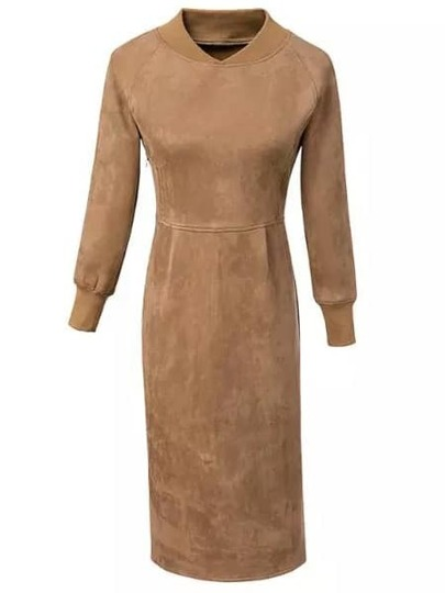 Khaki Stand Collar Slim Split Suede Dress