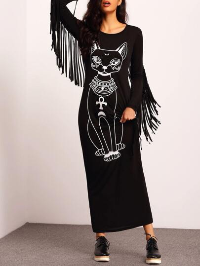 Black Round Neck Cat Print Tassel Dress
