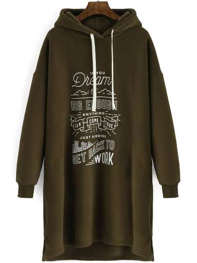 Army Green Drawstring Hooded Letters Print Dress