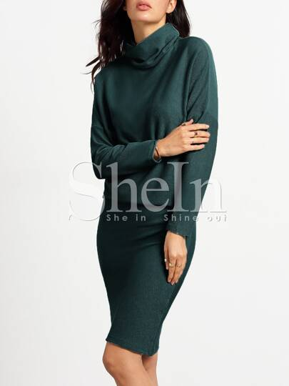 Dark Green Turtleneck Sheath Dress