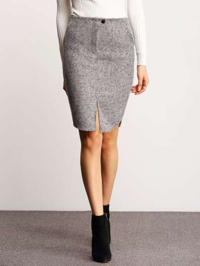 Grey Button Split Skirt