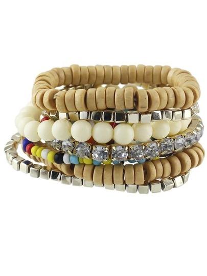 Beige Stretch Colorful Beads Bracelet