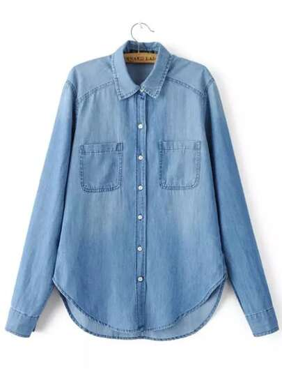 Blue Long Sleeve Pockets Denim Blouse