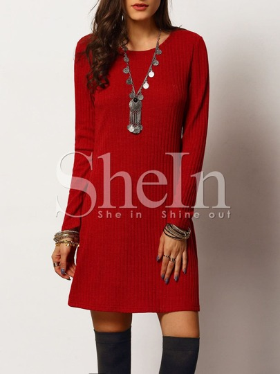 Red Crew Neck Ribbed A Line Dress