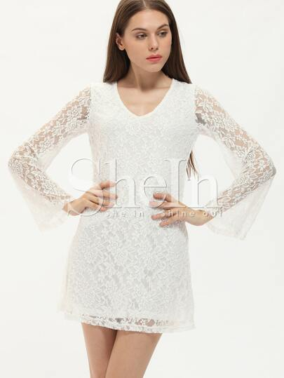 White Bell Sleeve Scoop Neck Lace Dress