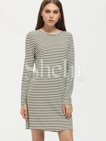 Black and White Striped Crew Neck Tshirt Dress