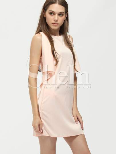Pink Crew Neck Drapped Side Shift Dress