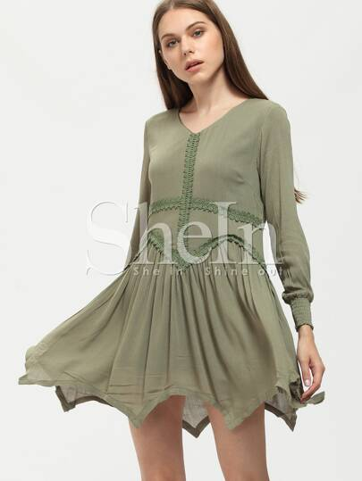 Green Elastic Cuff Asymmetric Dress