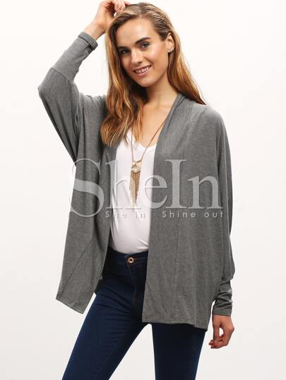 Grey Collarless Draped Side Coat