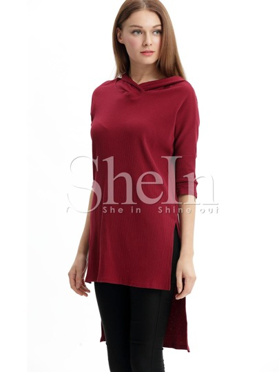 Burgundy Hooded Side Slit Dip Hem T-Shirt