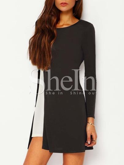 Black Color Block Keyhole Back Dress